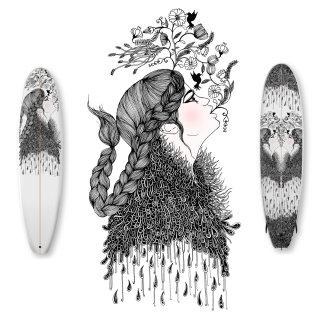 flowers portrait girl patterns line hair ink