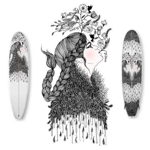Flower mouths Illustration for Surfboard design - Artboardz