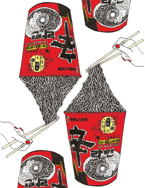 Cup noodles package artwork by Chrissy Lau