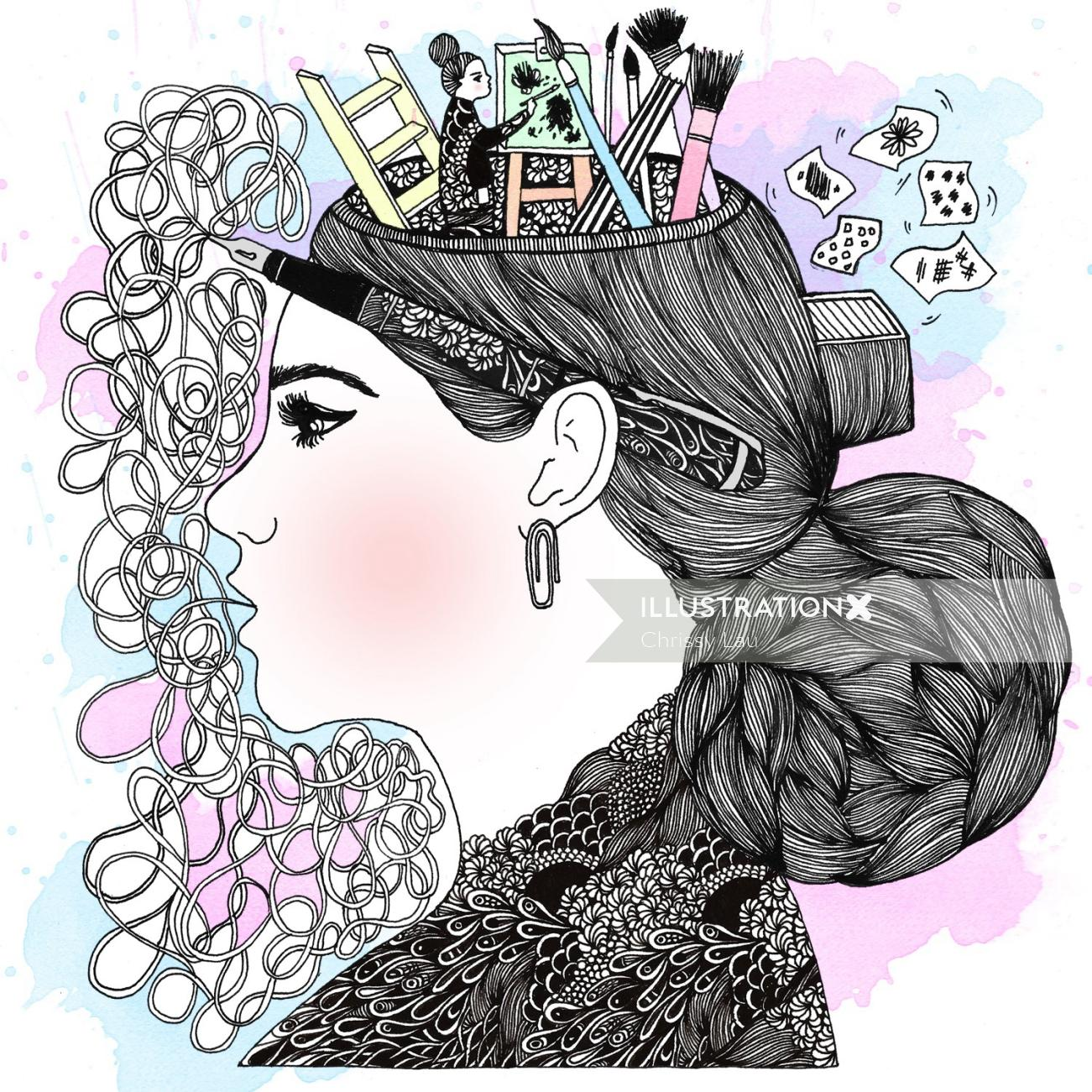 Conceptual Head Illustration