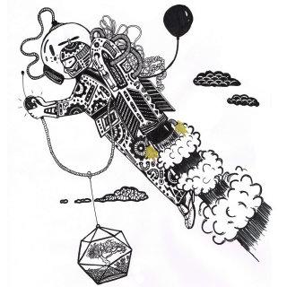 Black and white art of Rocket man