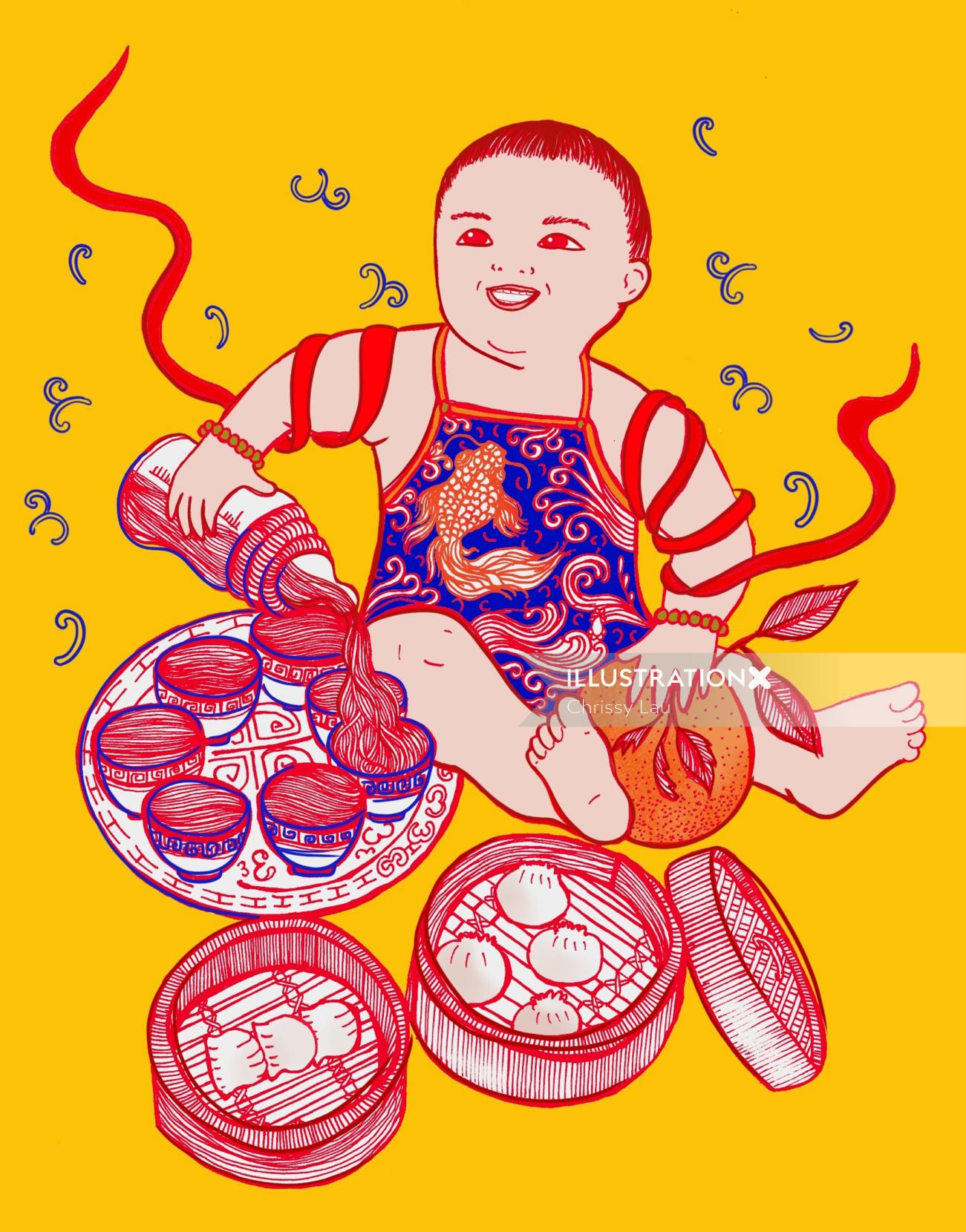 Yum Cha Baby sketch art