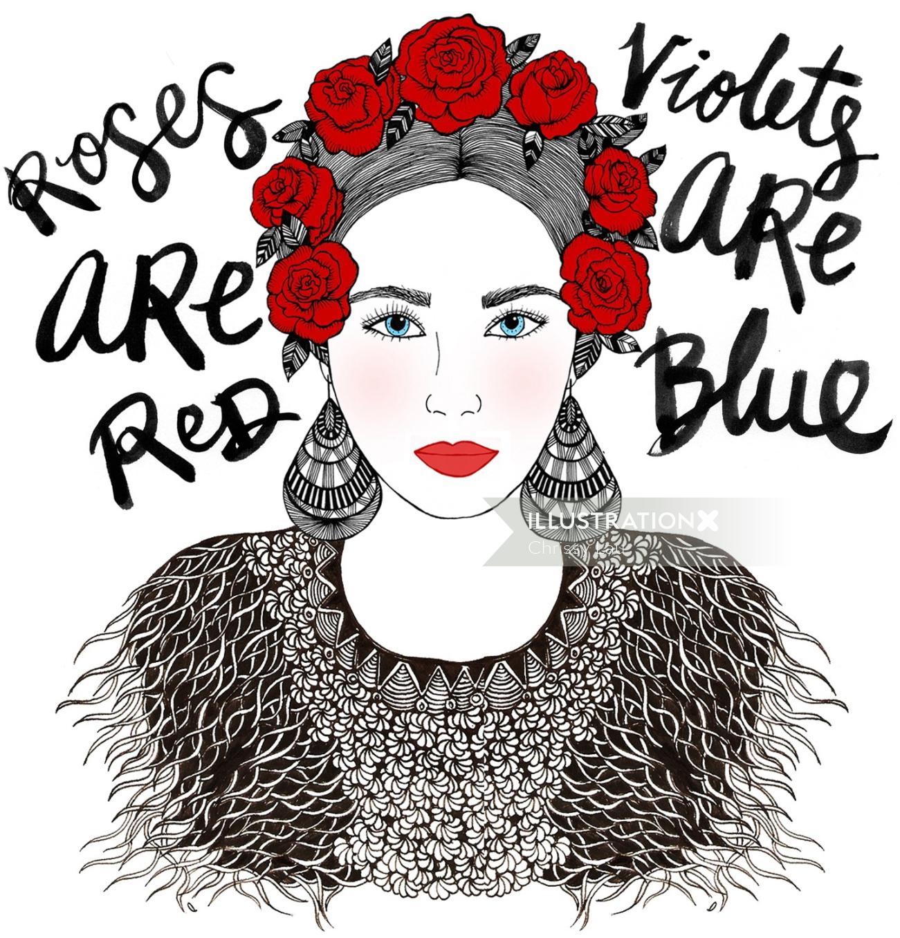 Frida Face portrait by Chrissy Lau