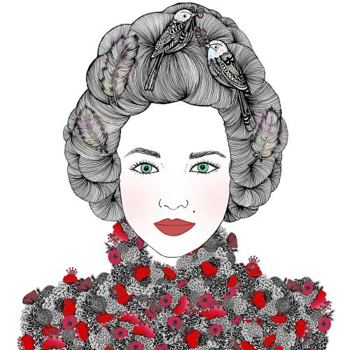 Marie Fashion Illustration with Birds