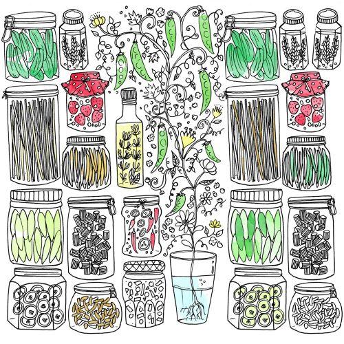 Glass flower pots graphic design