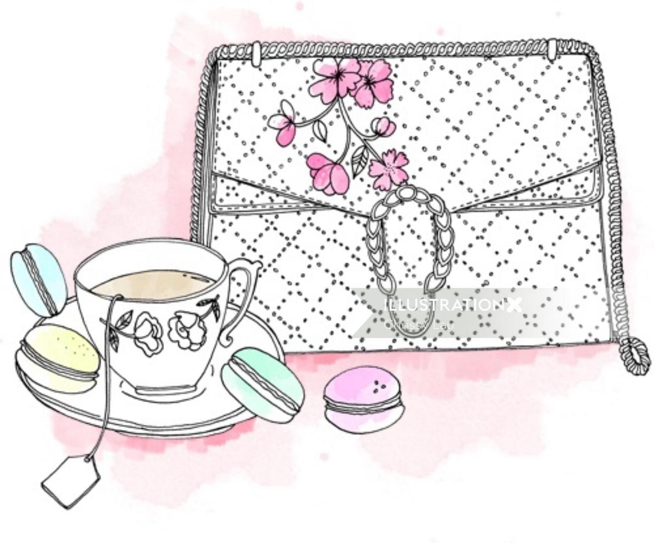 Fashion illustration of women handbag