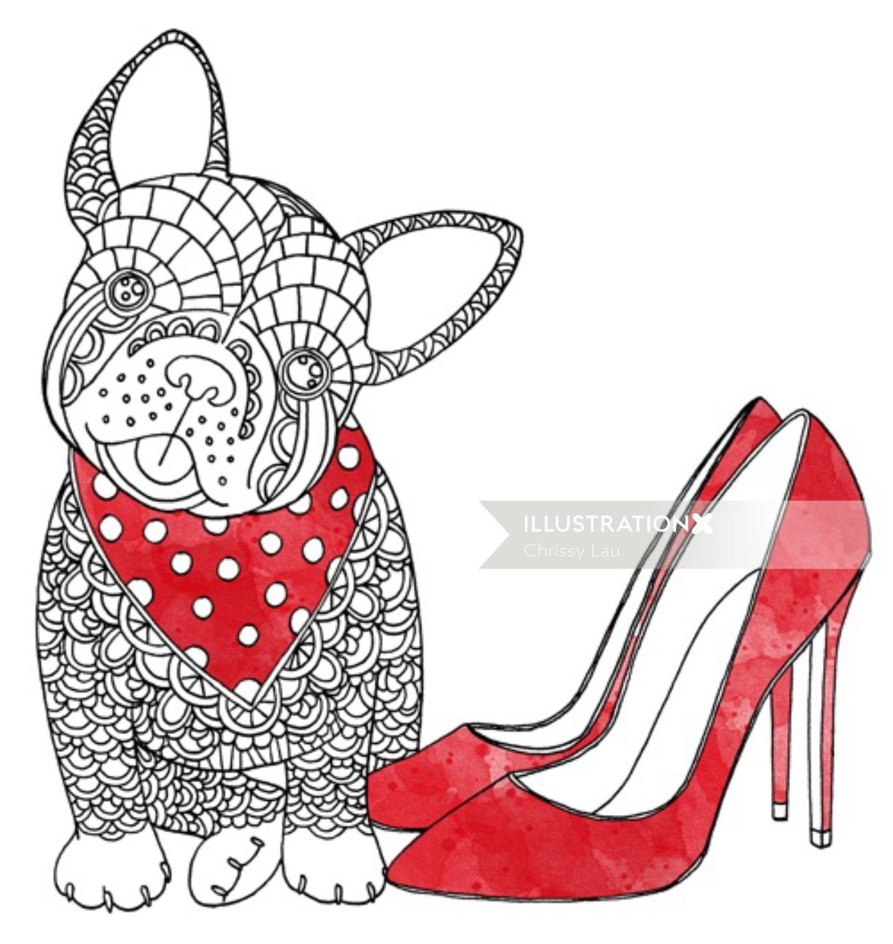 Fashion illustration of dog for Marie Claire Magazine