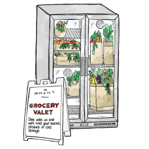 Grocery refrigerator illustration