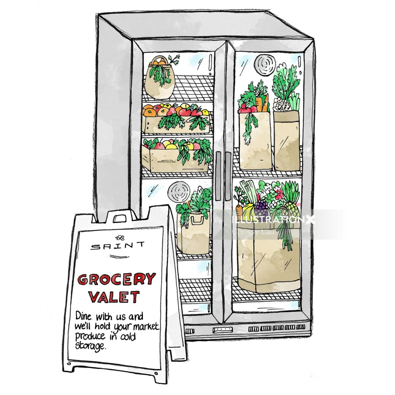Grocery refrigerator illustration