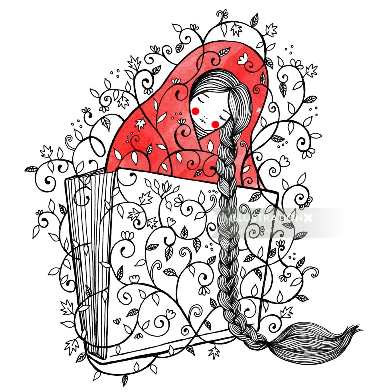 Line illustration of women in pattern