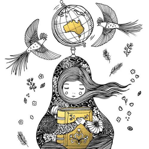 Black and white illustration of bedtime stories
