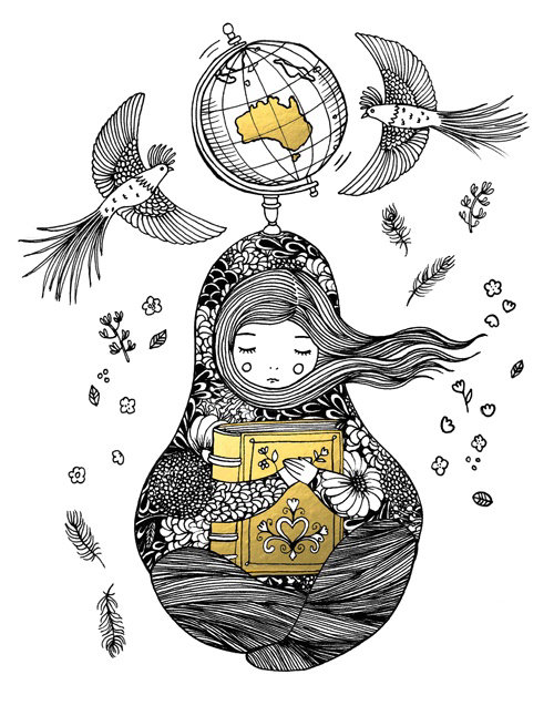 Black and white illustration of bedtime stories