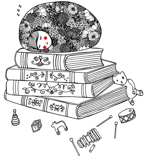 Line illustration of sleep on book
