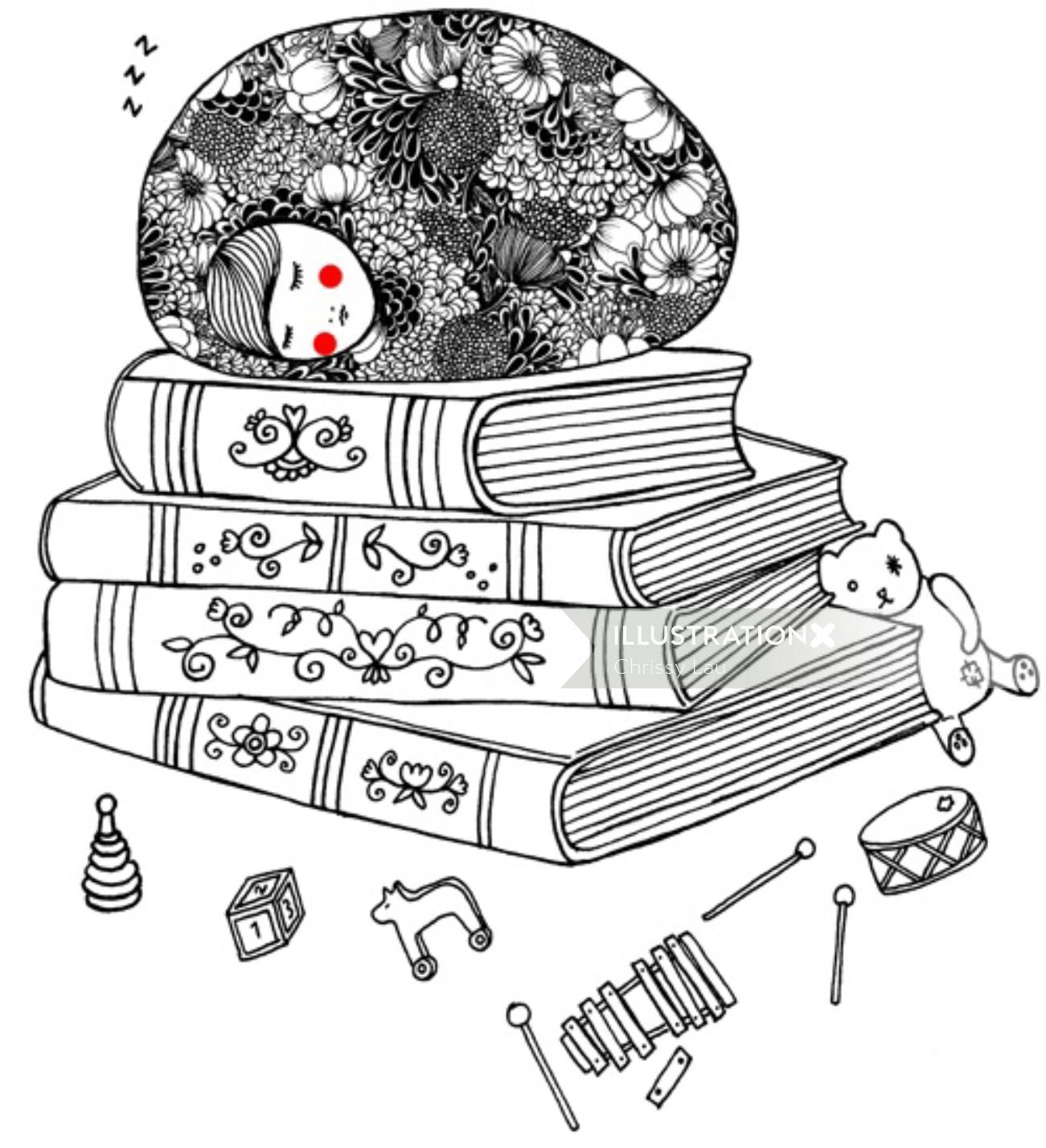 Line illustration of sleep on book
