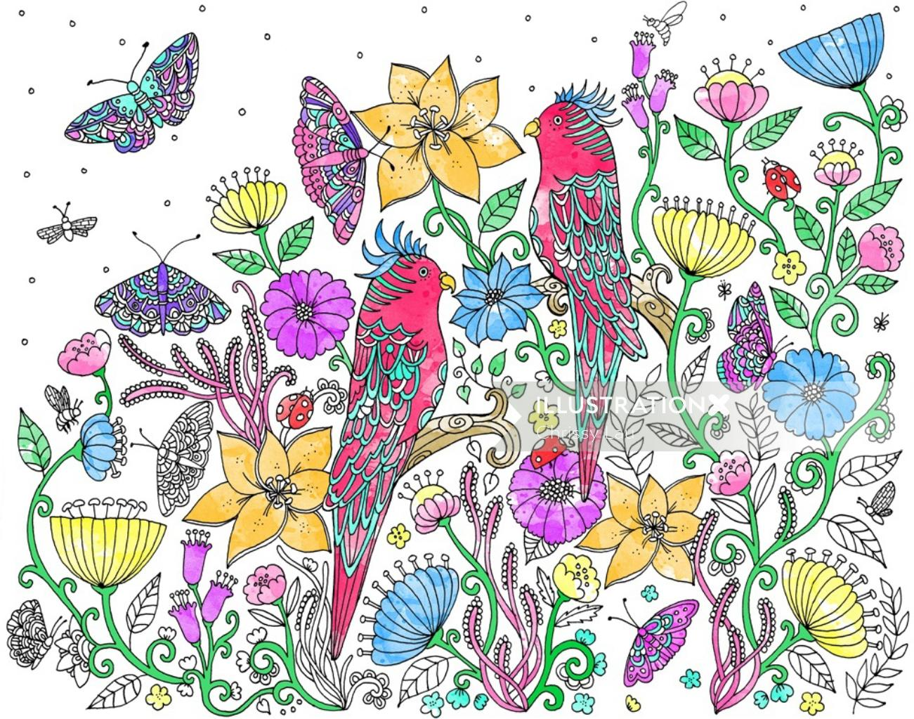 Decorative art of birds and flowers