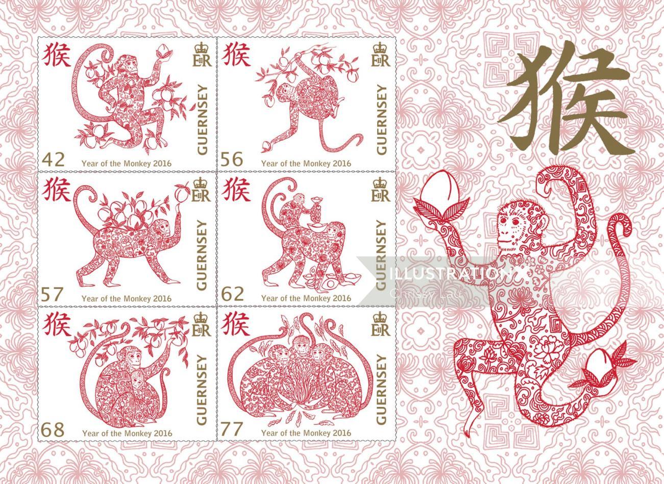Chinese monkey calendar design