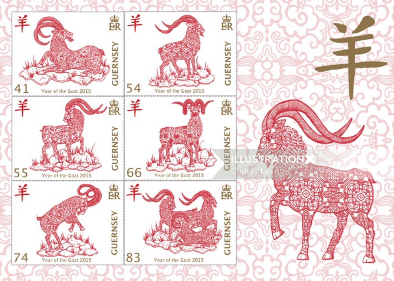 Chinese goat calendar design