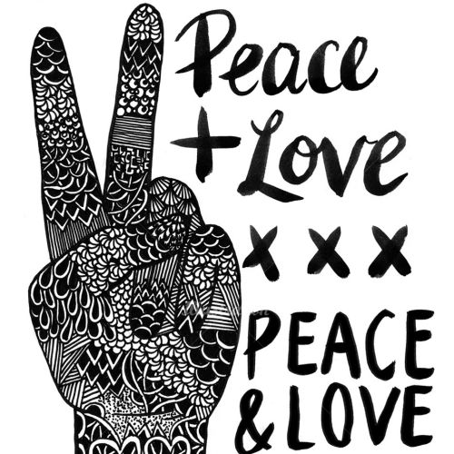 Black and white art of peace love