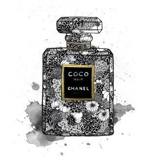 Chanel perfume bottle package illustration
