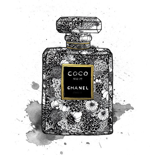 Chanel perfume bottle package illustration