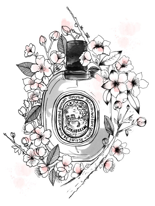 Perfume bottle black and white art