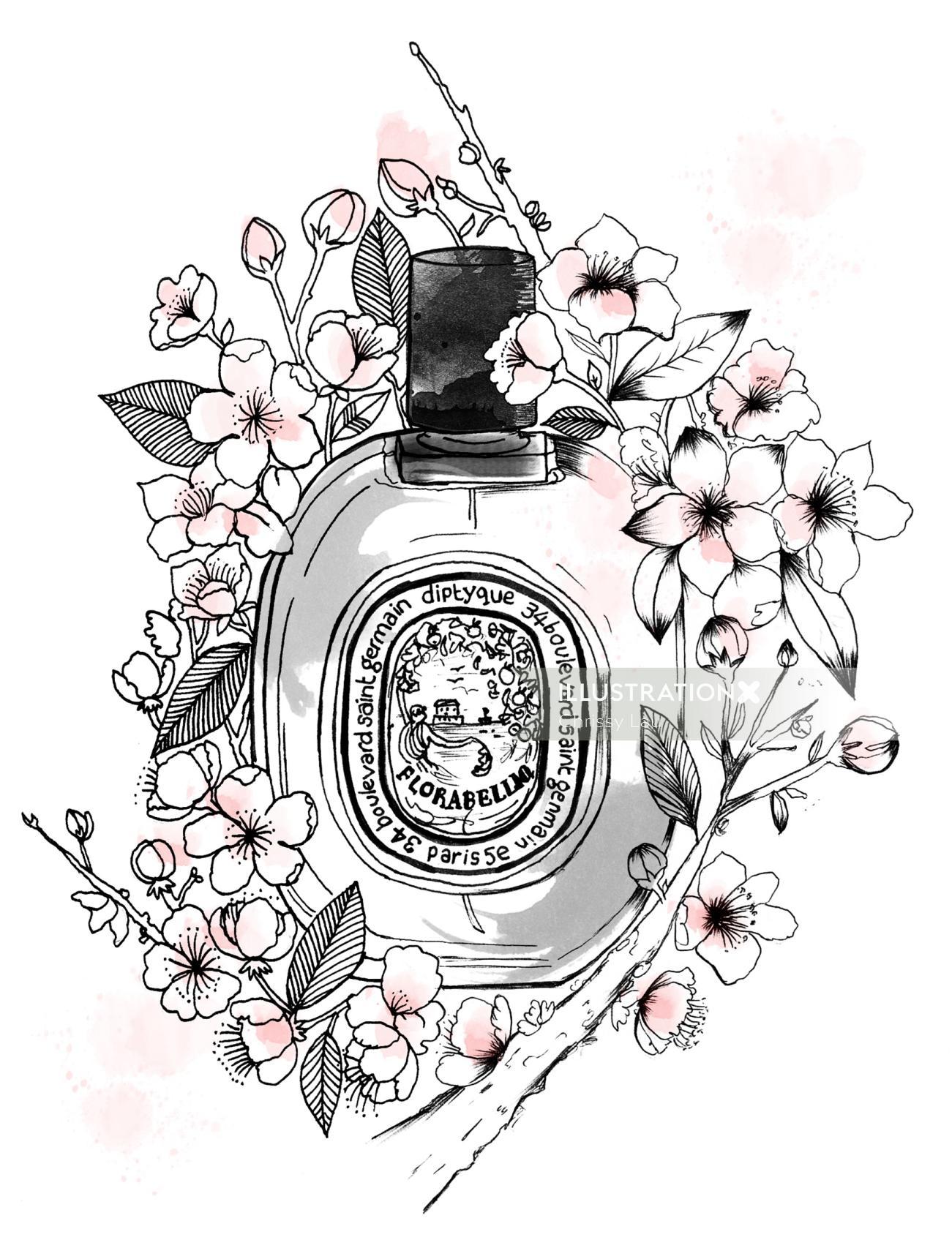 Perfume bottle black and white art