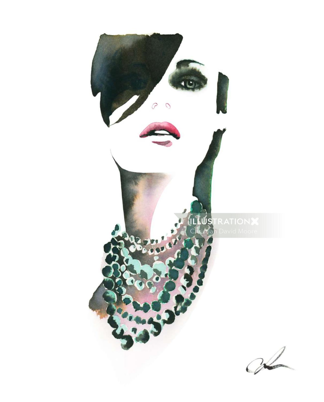 Model in necklace illustration by Christian David Moore