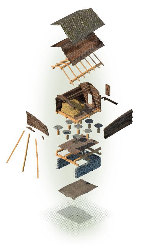 Modelo 3D que muestra diferentes partes usadas en una casa