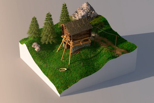 house in a forest shown in a 3d work