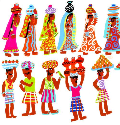 人物角色设计印第安人与花盆