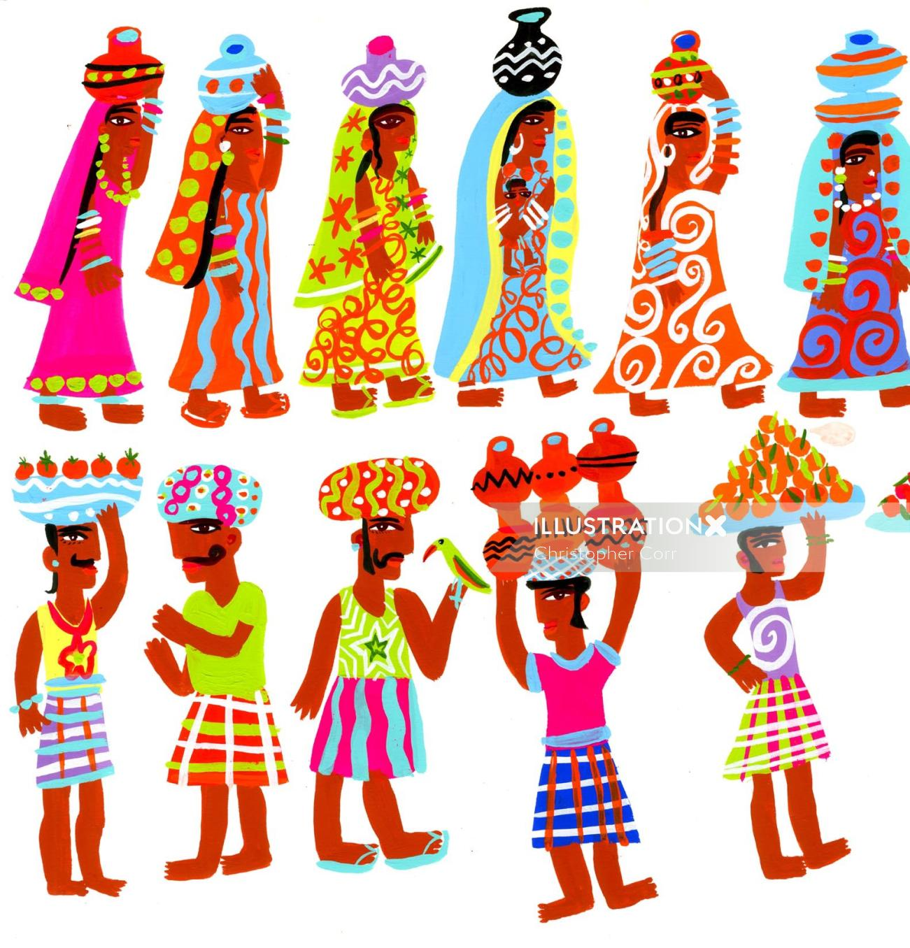 People character design indians with pots