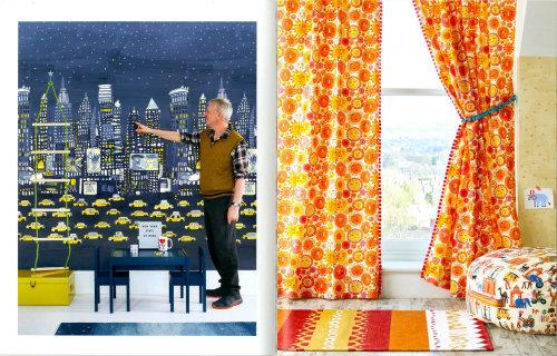 绘画装饰墙和窗帘