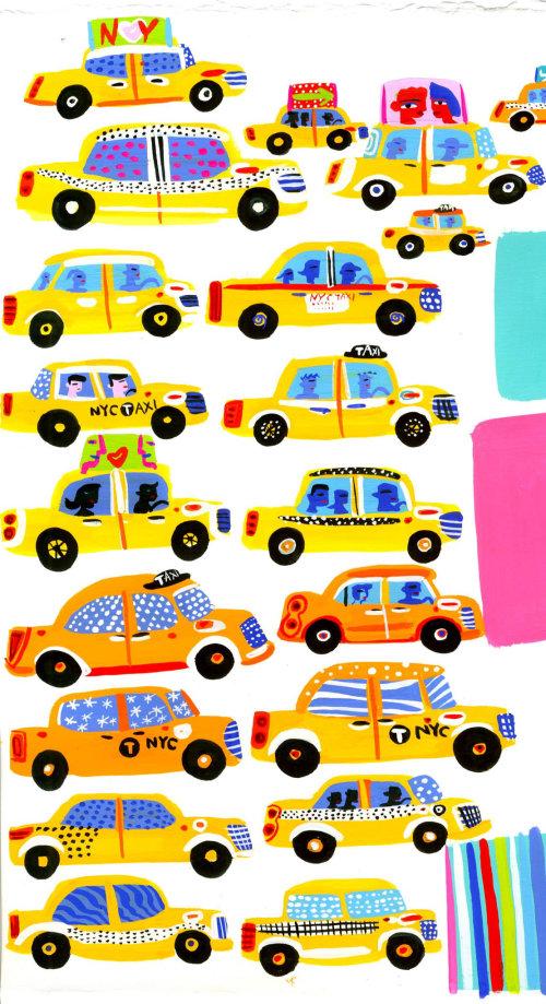 画纽约出租车
