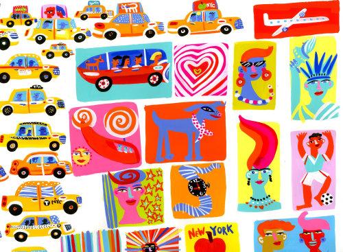 出租车和人的绘画
