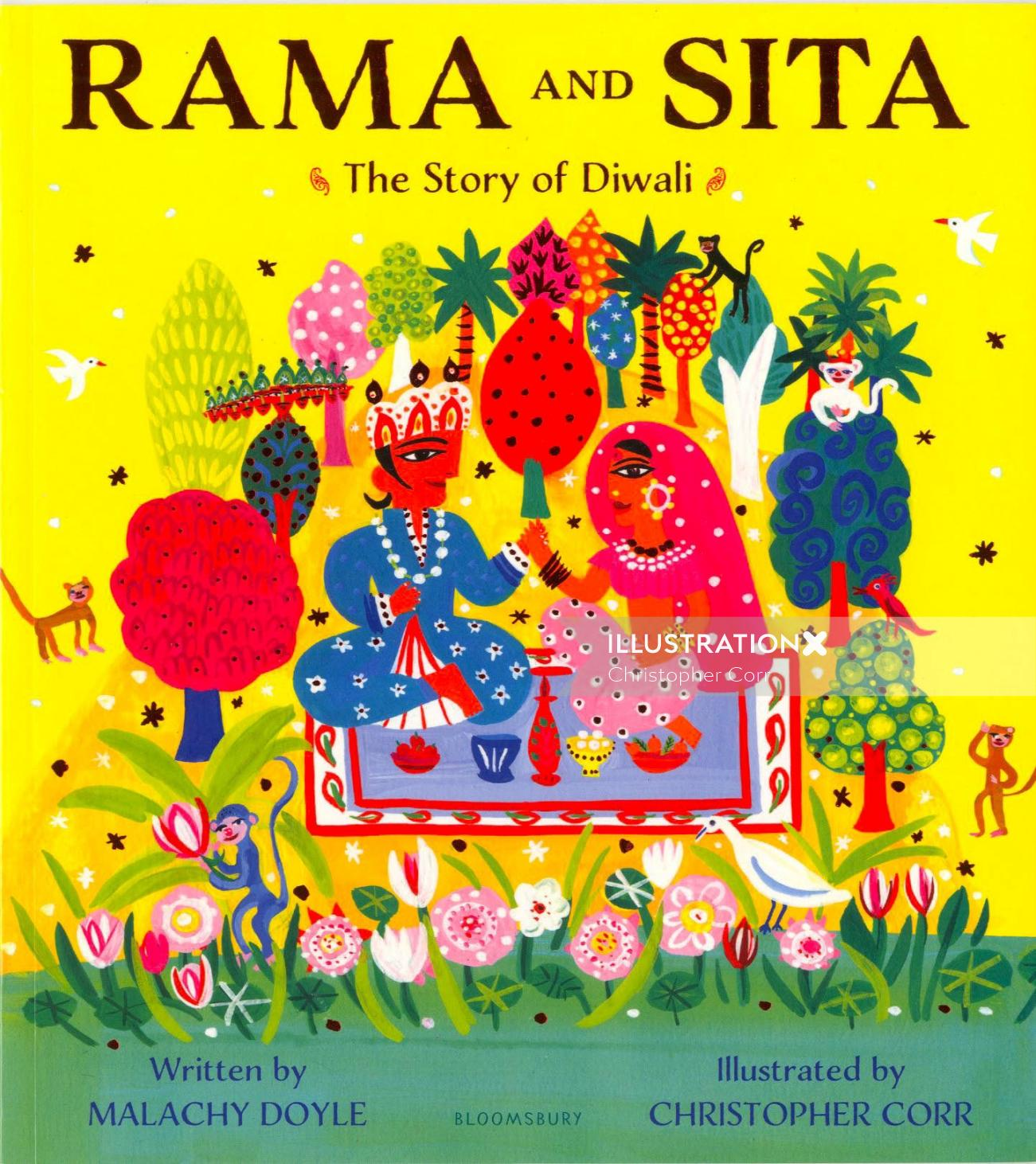 Book cover design of Rama and sita story