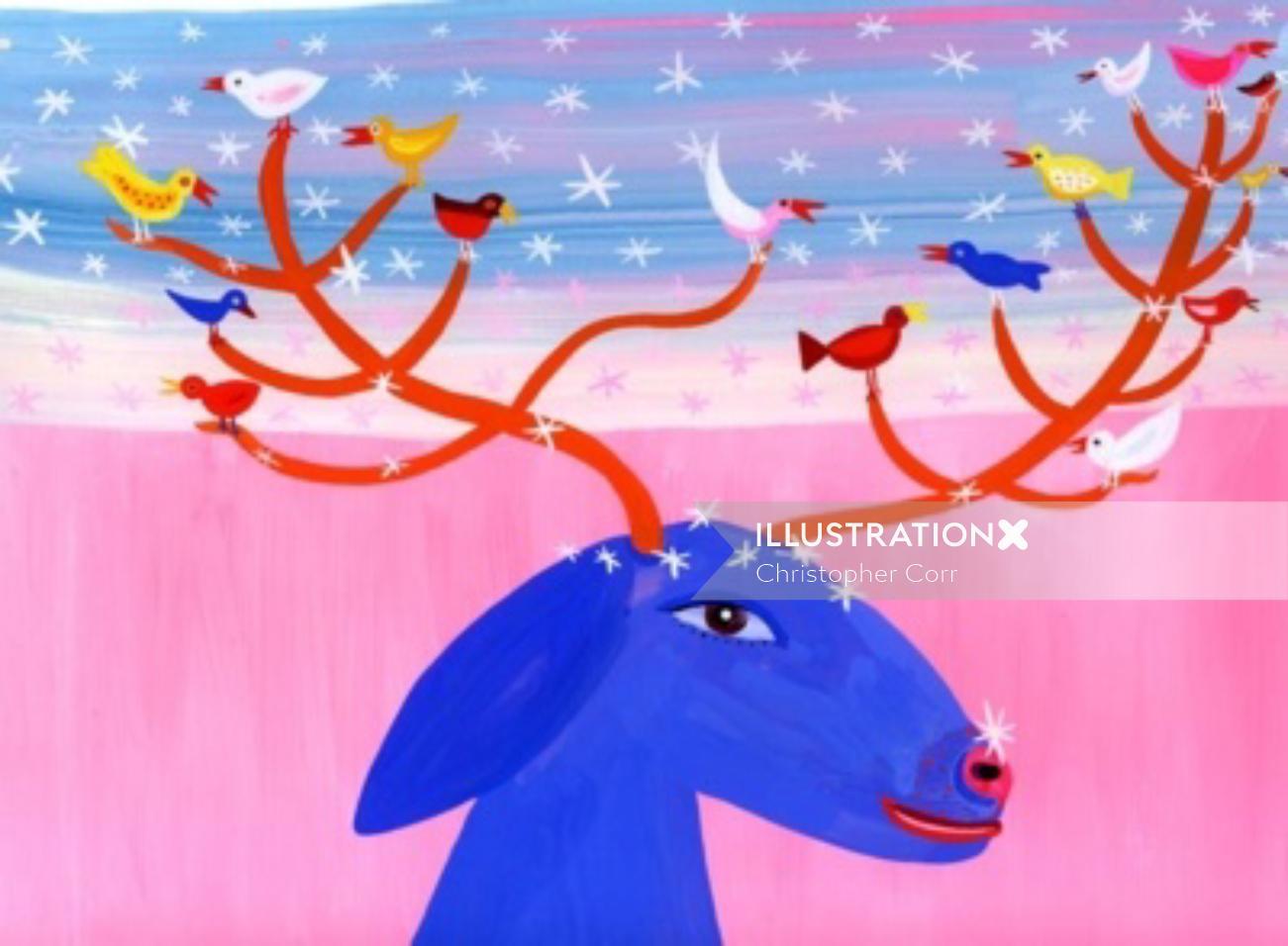 Illustration of birds sitting on deer horns