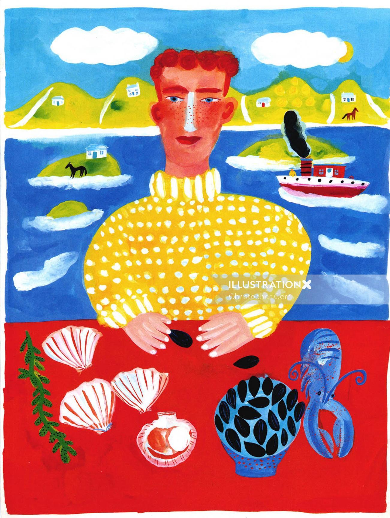Colored fisherman illustration