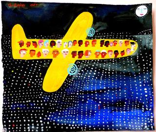 Flying Over LA in lights illustration by Christopher Corr