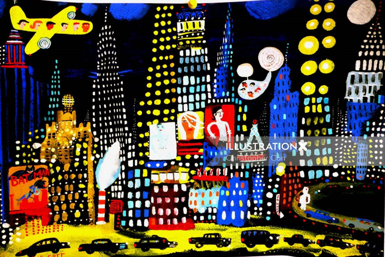 Illustration of New York night time