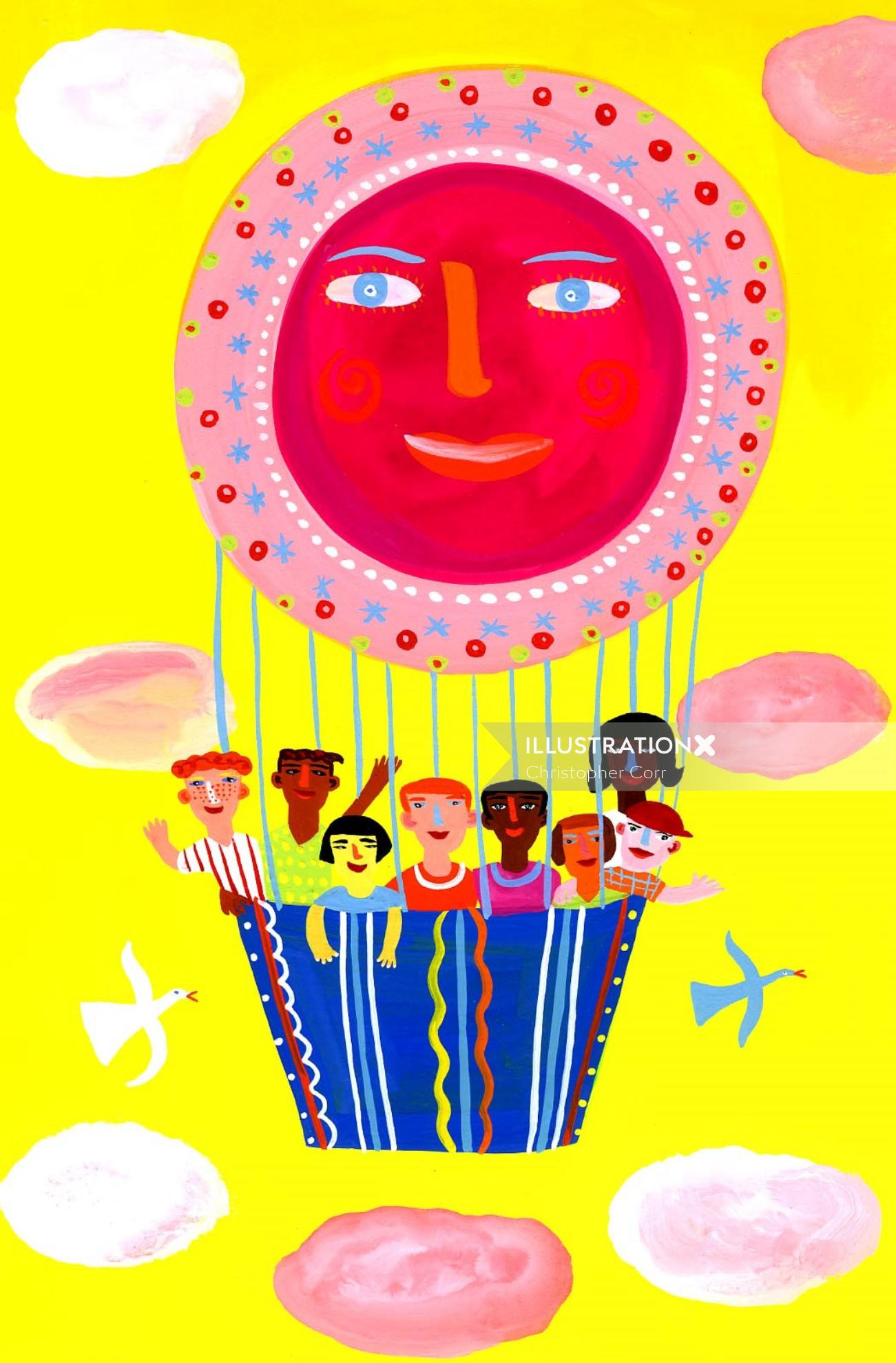 An illustration air balloon ride