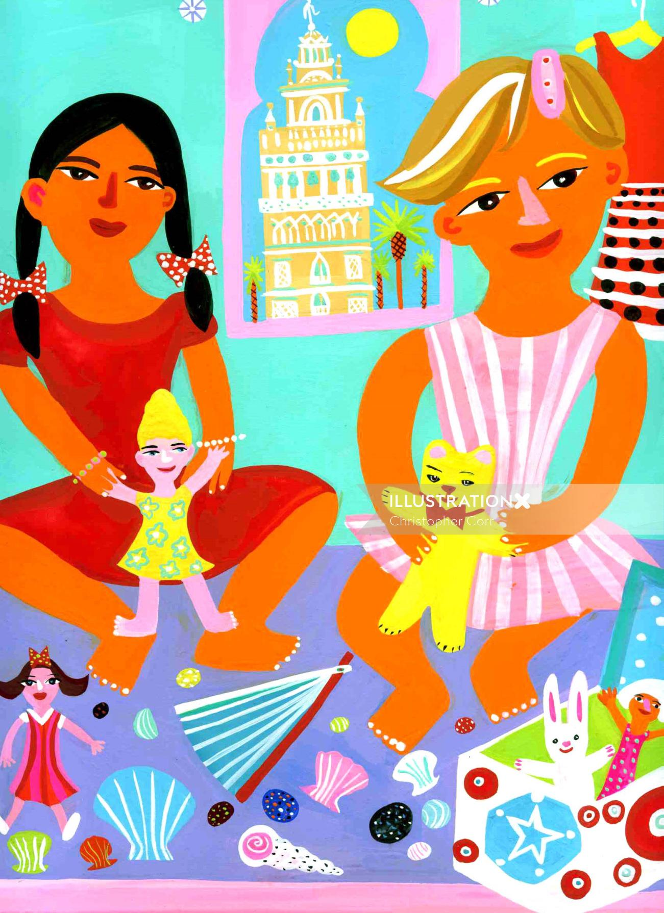 Illustration of colorful kid characters playing with dolls