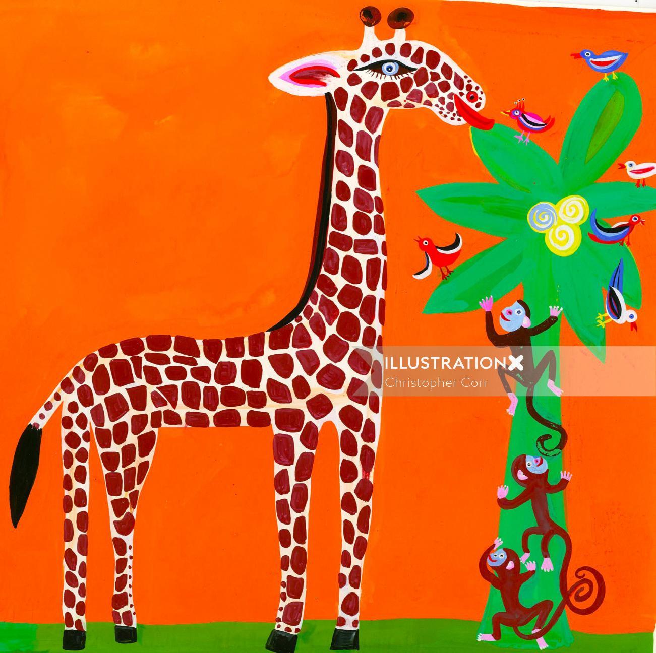 Giraffe & monkeys illustration | Cartoon gallery