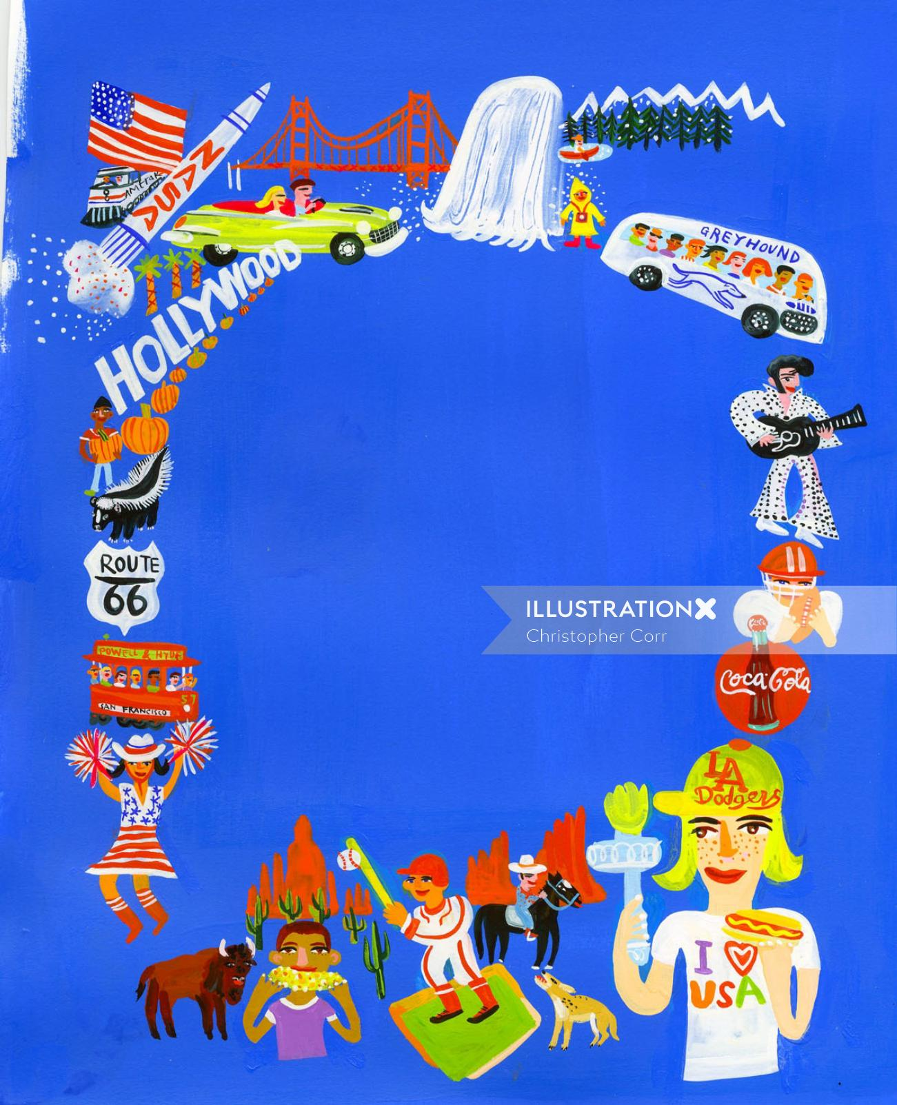 contemporary illustration USA travel places