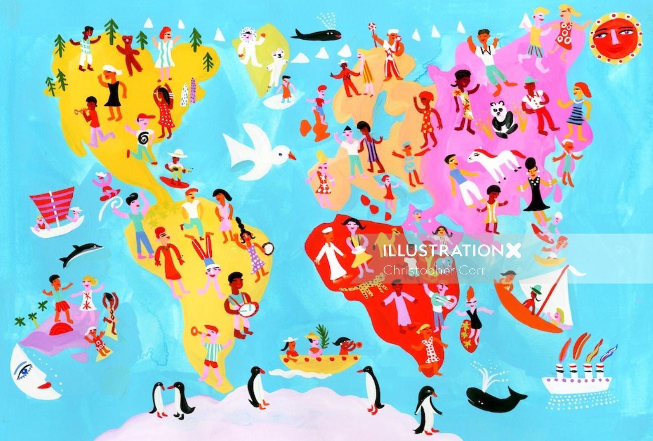 World Party Map illustration