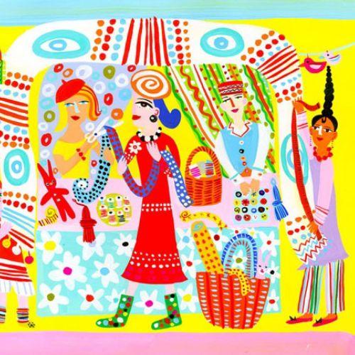Illustration of selvedge cloth stall