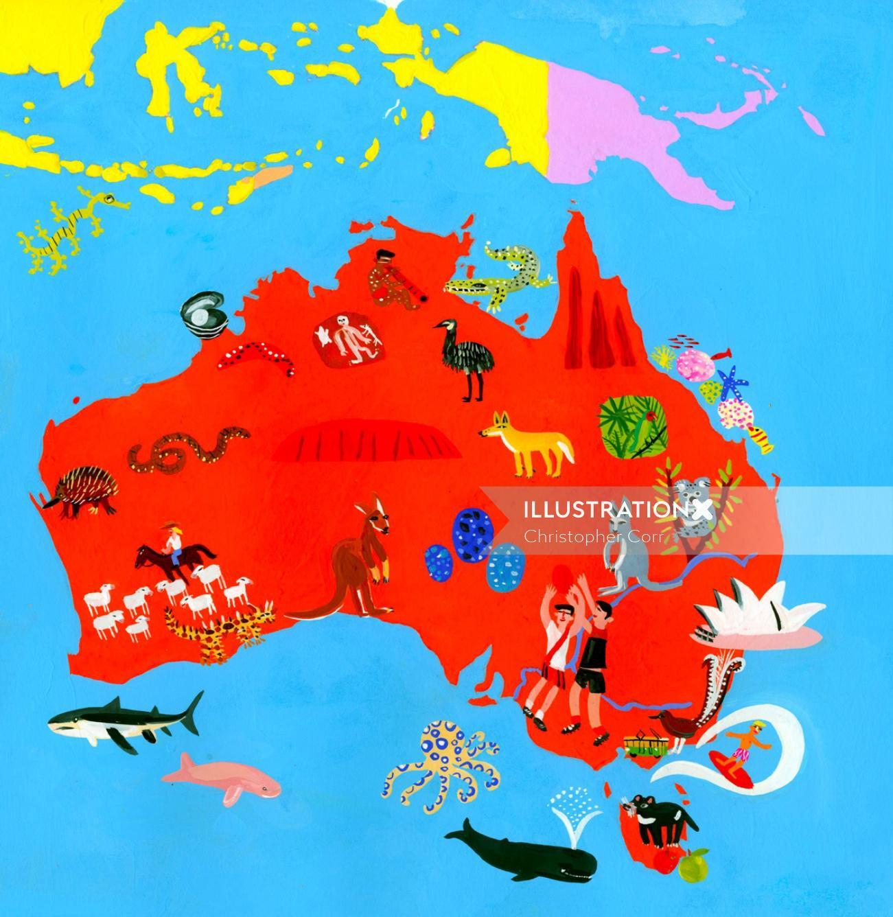 Maps Australia with water animals