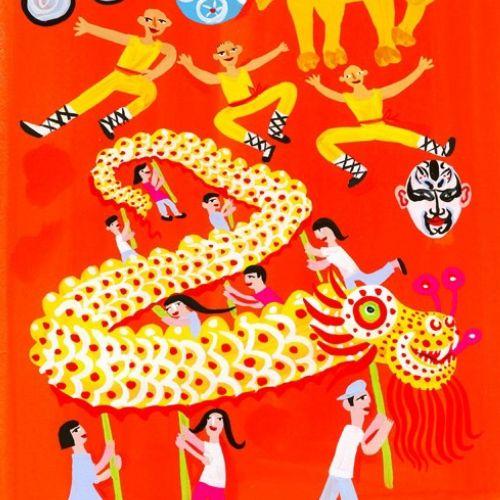 cartoon illustration of animal and people