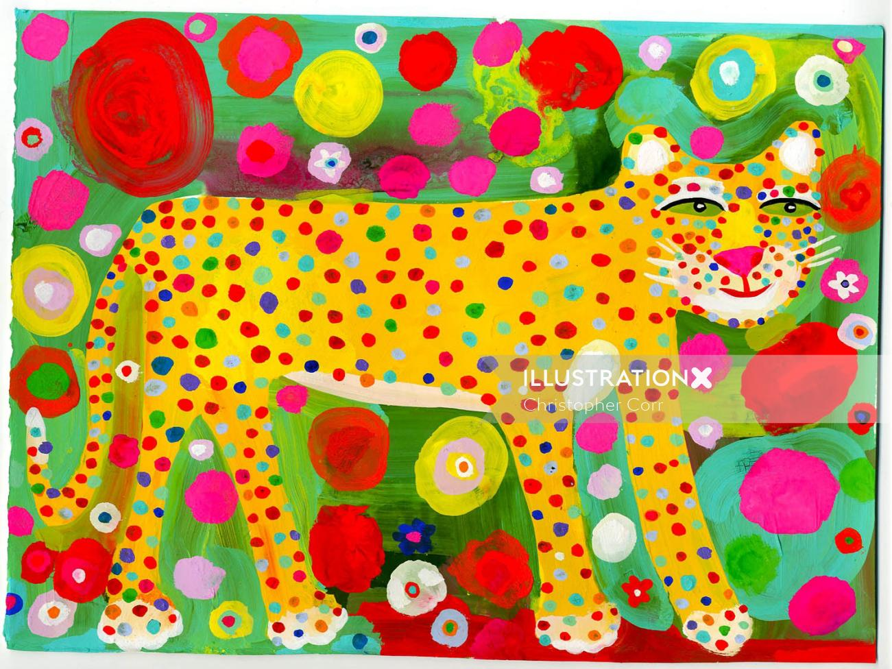 leopard illustration for children's book illustration by Christopher Corr
