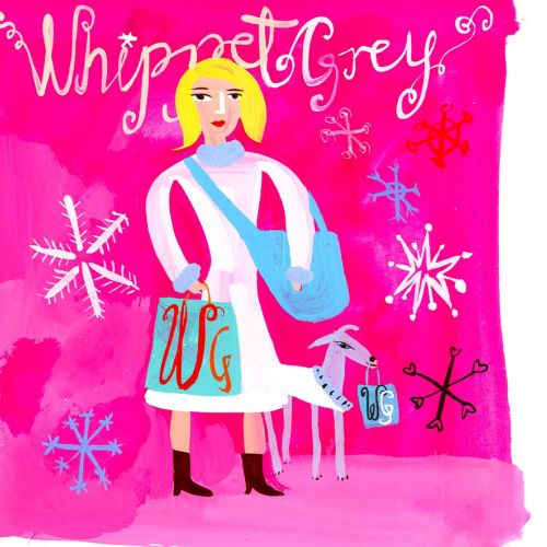 lettering and graphical whippet Grey brochure cover roughs