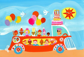 Illustration of birthday car